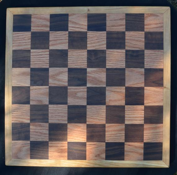 """Chess Board # 01. Black Walnut & Red Oak squares with a Cherry border. 17"""" x 17"""" x 1"""""""