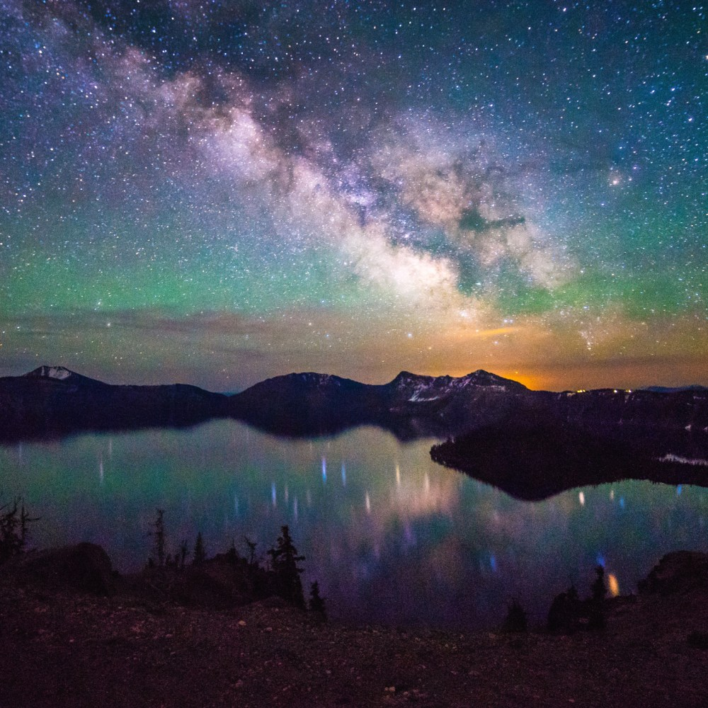 """The Milky Way over Crater Lake National Park is just mesmerizing. Tiffany Nguyen took this amazing photo a few weeks ago while visiting the park. Of the experience, she says, """"I must've gotten over a dozen mosquito bites and hardly any sleep, but it's nights like this I'll never forget."""" Photo by Tiffany Nguyen. Posted on Tumblr on 7/2/15 by the US Department of the Interior."""