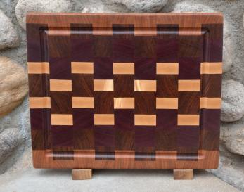 """Cutting Board # 15 - 052. Cherry, Black Walnut, Jatoba, Purpleheart and Hard Maple end grain with juice groove. Absolutely unique grain in the hard maple. 12"""" x 16"""" x 1-1/2""""."""