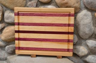 """Cutting Board # 15 - 053. Hard Maple & Purpleheart edge grain with juice groove. 14"""" x 18"""" x 1-1/2"""". This board sold the first time a customer saw it."""