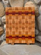 """Cutting Board 15 - 059. Hard Maple, Yellowheart & Padauk end grain with juice groove. Commissioned piece. 14"""" x 18"""" x 1-1/2""""."""