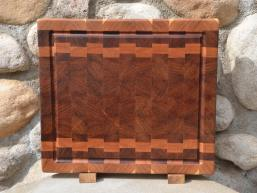 "Cutting Board 15 - 060. Cherry and Jatoba, AKA Brazilian Cherry, end grain with juice groove. Commissioned piece. 14"" x 16"" x 1-1/2""."