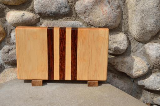 "Small Board # 15 - 036. Hard Maple & Jatoba end grain. 7"" x 12"" x 1-1/4""."