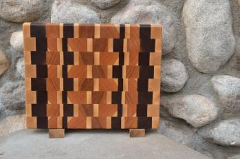 "Small Board # 15 - 038. Cherry, Black Walnut & Hard Maple end grain. 10"" x 12"" x 1-1/4""."