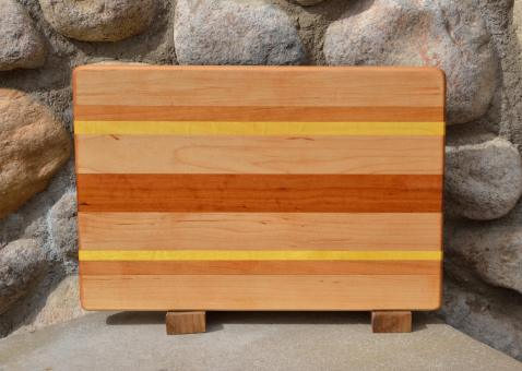"Small Board # 15 - 039. Hard Maple, Cherry & Yellowheart. 10"" x 14"" x 1-1/4""."
