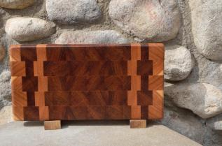 """Small Board # 15 - 040. Cherry & Jatoba end grain. 8"""" x 14"""" x 1-1/2""""."""