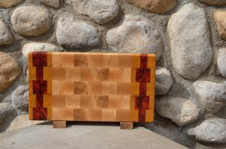 "Small Board # 15 - 042. Yellowheart, Padauk & Hard Maple end grain. 14"" x 8"" x 1-1/2""."