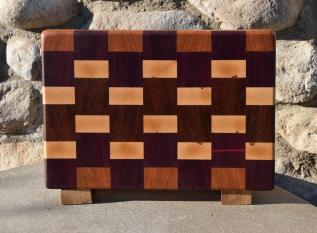 "Small Board # 15 - 043. Cherry, Black Walnut, Hard Maple & Jatoba. 8"" x 10"" x 1-1/2""."
