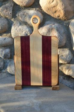"Sous Chef # 15 - 22. Hard Maple & Purpleheart. 9"" x 16"" x 3/4""."