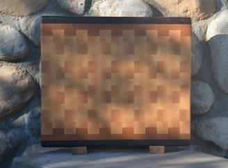 "Cutting Board 15 - 062. Black Walnut, Cherry & Hard Maple. End Grain. 13-1/4"" x 15-1/4"" x 1-1/4""."