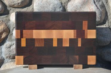 "Small Board # 15 - 047. Hard Maple, Black Walnut, Jarrah, Jatoba, Cherry & Yellowheart. End Grain. 9-1/2"" x 14"" x 1-1/4""."