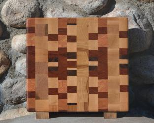 "Small Board # 15 - 050. Jatoba, Cherry, Honey Locust, Hard Maple, Black Walnut & Hickory. End Grain. 11"" x 12"" x 1-1/4""."