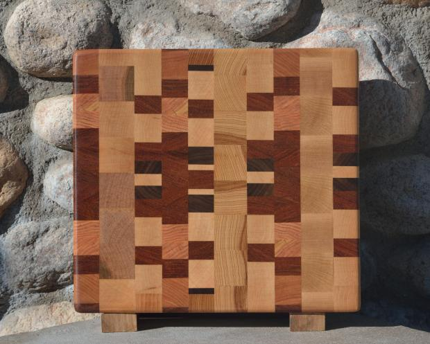 "Small Board # 15 - 050. Jatoba, Cherry, Honey Locust, Hard Maple, Black Walnut & Hickory. End Grain. 11"" x 12"" x 1-1/4""."