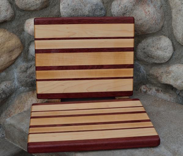 "Cheese Board # 15 - 030. Purpleheart & Hard Maple. Edge Grain. 8"" x 11"" x 3/4""."