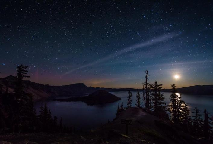 Oregon's Crater Lake National Park under a starry sky. Photo by Brian Gailey. Tweeted by the US Department of the Interior, 9/11/15.