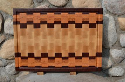 "Cutting Board # 15 - 049. Jatoba, Honey Locust & Hard Maple. End Grain, Juice Groove. 16"" x 20"" x 1-1/2"". Pre-sold from the shop."