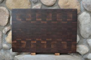 "Cutting Board # 15 - 073. Black Walnut. End Grain. 16"" x 20"" x 1-1/2"". Commissioned piece."