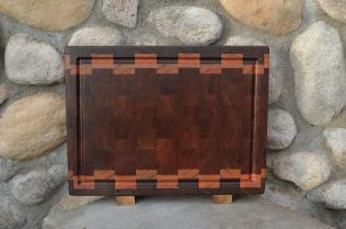 "Cutting Board # 15 - 078. Black Walnut, Jatoba & Cherry. End Grain, Juice Groove. 12"" x 16"" x 1-1/2"". Commissioned piece."