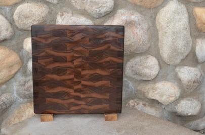 "Cutting Board # 15 - 080. Black Walnut. End Grain. 11"" x 12"" x 1""."