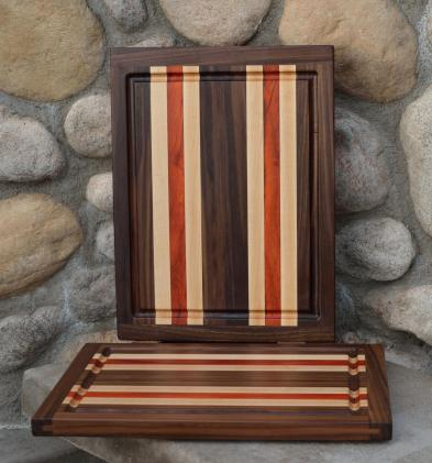 "Cutting Board # 15 - 101. Black Walnut, Hard Maple & Padauk. Edge Grain, Juice Groove. 12"" x 16"" x 1"". Commissioned pieces; part of a 3 board set."
