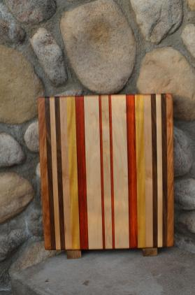 "Cutting Board # 15 - 103. Cherry, Black Walnut, Hard Maple, Padauk & Yellowheart. Edge Grain. 13"" x 16"" x 1-1/4""."