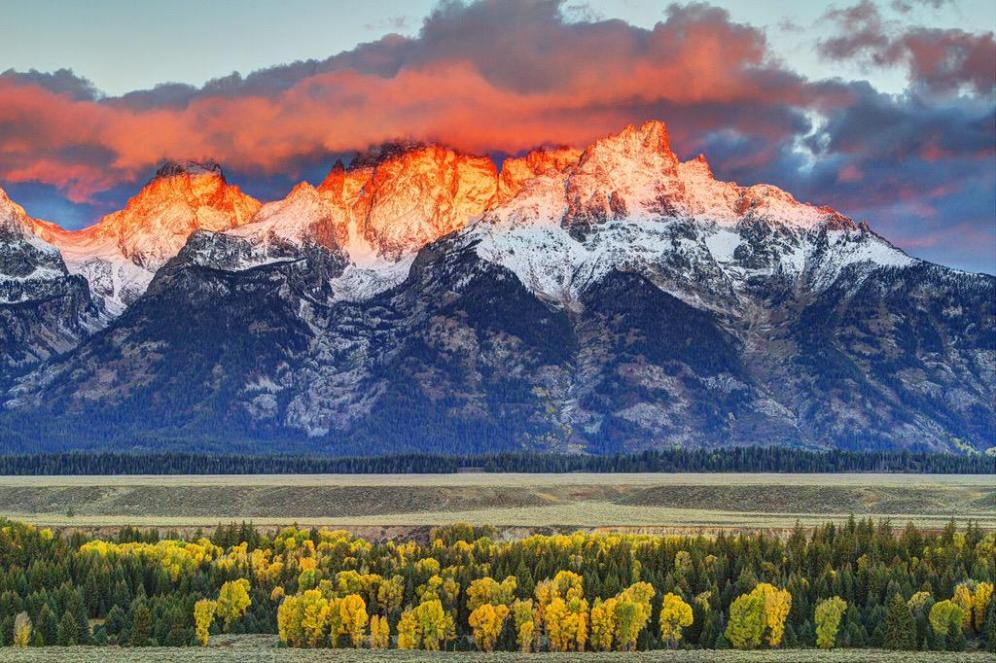 Sunrise over the Tetons. Tweeted by the US Department of the Interior, 9/27/15.