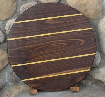 "Lazy Susan # 15 - 024. Black Walnut & Yellowheart. 17"" x 3/4""."