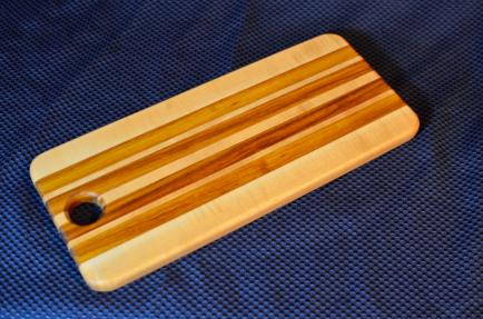 "Bread Board 09. Hard Maple & Canarywood. 6"" x 15"" x 3/4""."