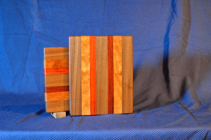 "Cheese Board # 15 - 042. Black Walnut, Cherry & Padauk. Edge grain. 8"" x 11"" x 3/4""."