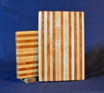 "Cheese Board # 15 - 046. Hard Maple & Cherry. Edge Grain. 8"" x 11"" x 3/4""."