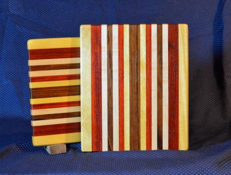 "Cheese Board # 15 - 050. Yellowheart, Padauk, Hard Maple, Black Walnut & Jatoba. 9"" x 11"" x 7/8""."