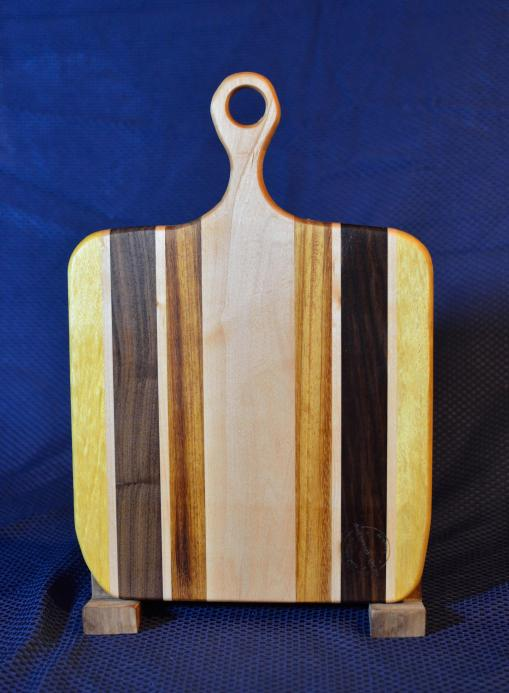 "Sous Chef # 15 - 40. Yellowheart, Hard Maple, Black Walnut & Teak. 12"" x 16"" x 3/4""."