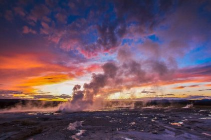Sunset paints the sky in vibrant colors at Yellowstone National Park. Photo by Venkat Kancharla. Tweeted by the US Department of the Interior, 10/30/15.