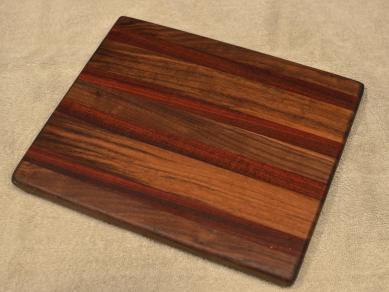 """Cheese Board # 15 - 055. Black Walnut & Bloodwood. 8"""" x 11"""" x 3/4""""."""