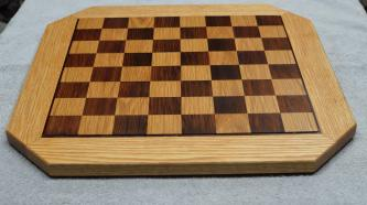 "Chess Board # 15 - 10. White Oak, Bloodwood & repurposed, 200-year-old Redwood. Commissioned piece. 20"" x 20"" x 3/4""."