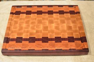 "Cutting Board # 15 - 087. Purpleheart, Honey Locust & Hard Maple. End Grain with Juice Groove. 16"" x 20"" x 1-1/2"". Sold out of the shop before it was finished!"
