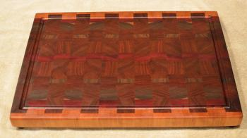 "Cutting Board # 15 - 088. Cherry, Black Walnut, Purpleheart & Jatoba. End Grain with Juice Groove. 16"" x 20"" x 1-1/2""."