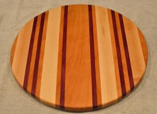 "Lazy Susan # 15 - 048. Cherry, Hard Maple & Purpleheart. 17"" diameter x 3/4""."