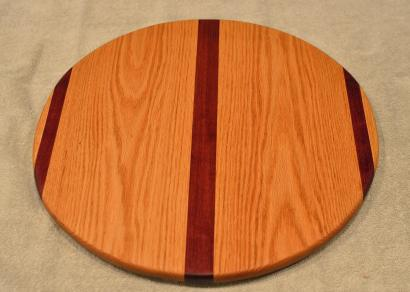 "Lazy Susan # 15 - 049. Purpleheart & Red Oak. 17"" diameter x 3/4""."