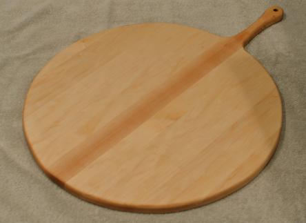 "Pizza Server # 15 - 02. Hard Maple. 17"" x 3/4"" with 7"" handle."