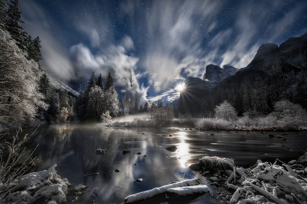"A magical moonrise over Yosemite National Park in California. Matt Walker captured this night shot – yes, it's a night shot – on Thanksgiving week. It had snowed all day and began clearing around sunset. An hour later, the full moon rose with an intense glow as fog and clouds swirled around Yosemite Valley. ""It was an amazing experience having my 10-year-old son next to me watching this unbelievable moonrise,"" says Walker. Photo courtesy of Matt Walker. Posted on Tumblr by the US Department of the Interior, 12/18/15."