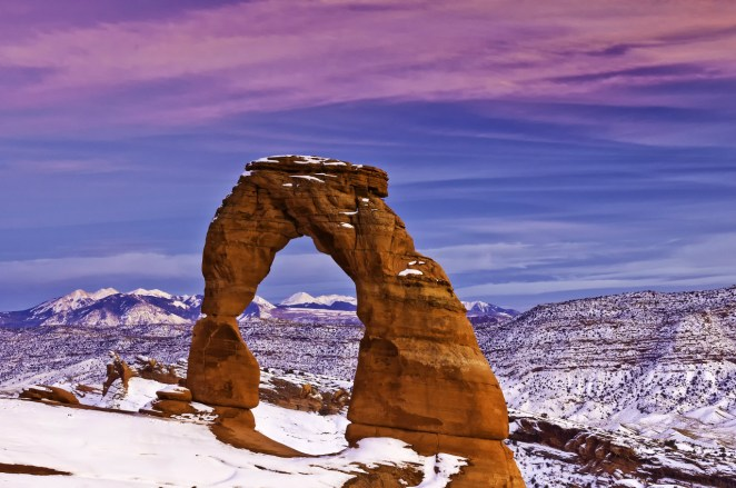 Delicate Arch in winter. Photo of Arches National Park by Donald Higgs. Posted on Tumblr by the US Department of the interior, 1/16/16.