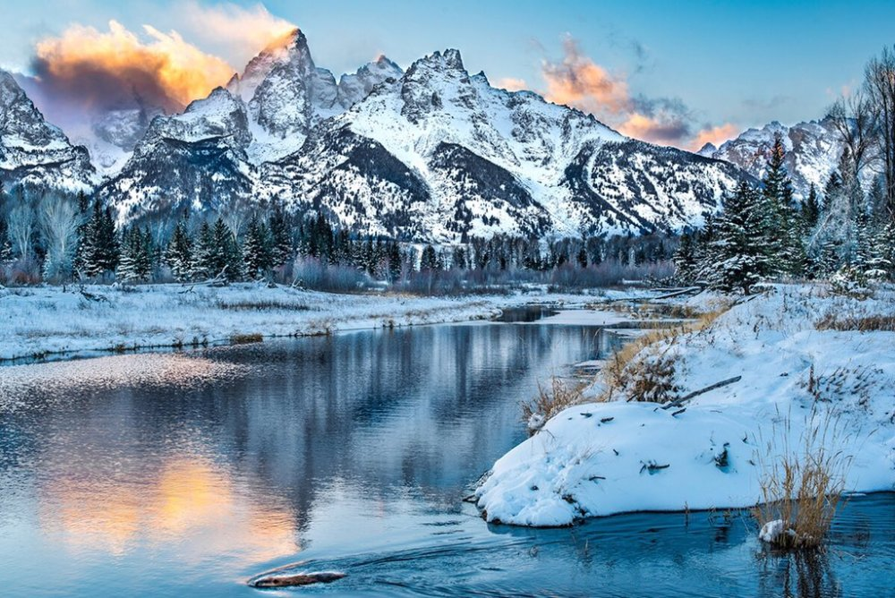 One of the best things about winter in Grand Teton National Park: the stunning sunsets. Photo by Josh Packe. Tweeted by the US Department of the Interior, 1/12/16.