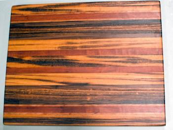 "Cutting Board 16 - Edge 001. Goncalo Alves, Jatoba, Cherry & Black Walnut. Edge grain. 17"" x 21"" x 1-1/2""."