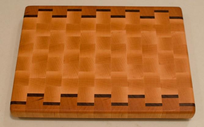 """Cutting Board 16 - End 001. Cherry, Black Walnut & Hard Maple. End Grain. 9-1/2"""" x 12-1/2"""" x 1""""."""