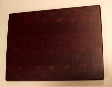 "Cutting Board 16 - End 004. A spectacular board in daylight when the wood flouresces. Jarrah & Bloodwood. End grain. 16"" x 21"" x 1-1/2""."
