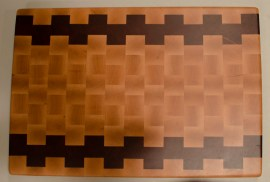 "Cutting Board 16 - End 006. Hard Maple & Padauk. End grain. 15"" x 21"" x 1-1/2""."