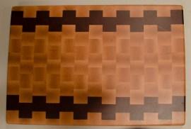 """Cutting Board 16 - End 006. Hard Maple & Padauk. End grain. 15"""" x 21"""" x 1-1/2""""."""