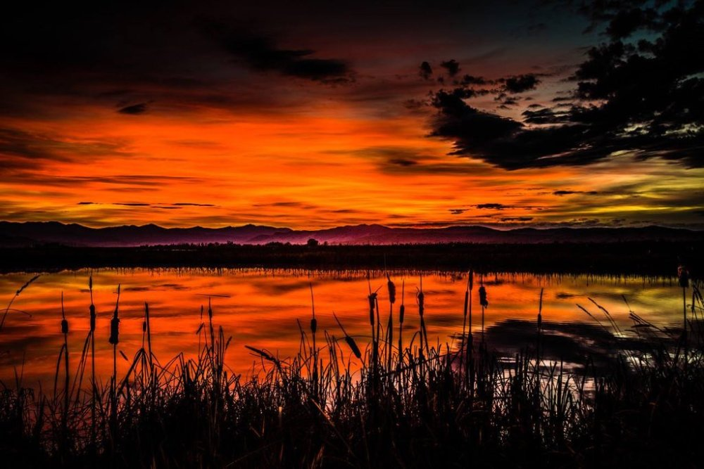 Sunset over Montana's Ninepipe National Wildlife Refuge. Tweeted by the US Department of the Interior, 2/17/16.
