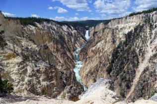 Yellowstone has its own Grand Canyon. The Grand Canyon isn't just in Arizona -- there's also the Grand Canyon of the Yellowstone. Created by erosion from the Yellowstone River, the canyon is more than 1,000 feet deep, 1,500-4,000 feet wide and roughly 20 miles long -- it also provides endless views. A view of Lower Falls and Grand Canyon of the Yellowstone from Artist Point by Diane Renkin, National Park Service. From the Department of the Interior's blog.